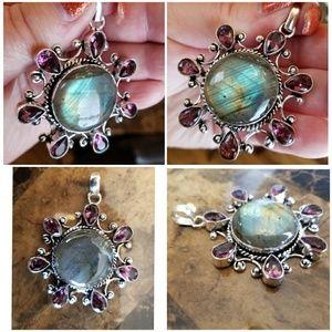 Jewelry - Gorgeous HUGE Laboradite/Amethyst Pendant